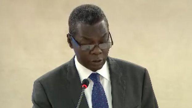 Pedro Luis Pedroso Cuesta, subdirector general de Asuntos Multilaterales y Derecho Internacional, interviene en Ginebra  para hablar de derechos humanos. (ONU Cuba Ginebra)