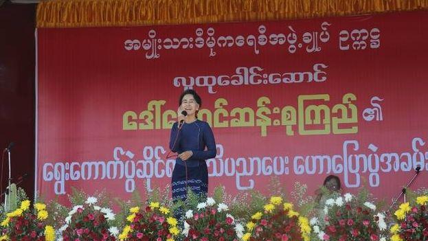 La líder de la oposición birmana, Aung San Suu Kyi, el pasado 20 de octubre. (Facebook)