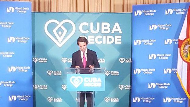 Aznar durante su discurso en la cena de Cuba decide. (@CUBADECIDE)