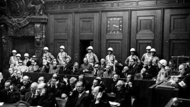 Banquillo de los acusados en los juicios de Núremberg, Alemania. (En la imagen, los acusados. (EFE/National Archive/College Park)