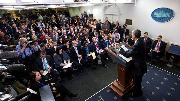Barack Obama este miércoles durante su última conferencia de prensa como presidente de EE UU. (@WhiteHouse)