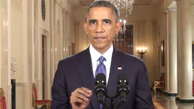 Barack Obama durante su alocución desde la Casa Blanca