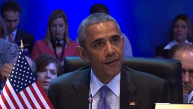 Barack Obama durante su discurso en la Cumbre de las Américas