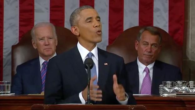 Barack Obama en su discurso del Estado de la Unión