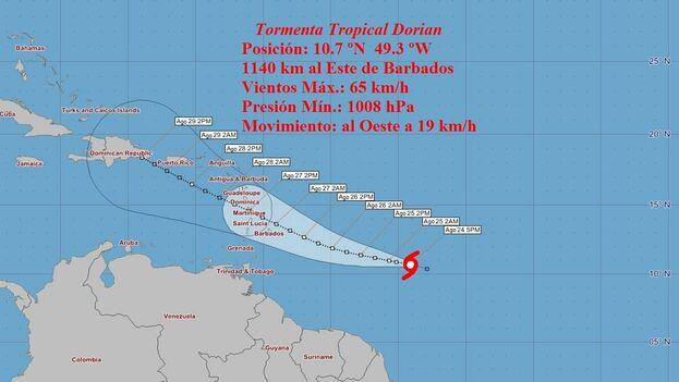 El pronóstico anticipa fuertes lluvias hasta el jueves en Barbados, las Islas de Barlovento y Sotavento, y especialmente en Puerto Rico y República Dominicana. (INSMET)