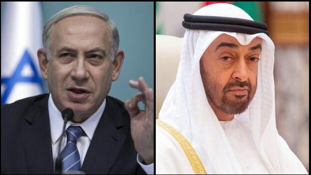 El primer ministro israelí, Benjamín Netanyahu, y el príncipe heredero de Abu Dhabi, Mohammed bin Zayed. (Collage/EFE)