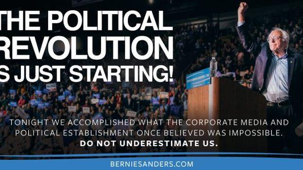 El candidato demócrata Bernie Sanders celebró como una victoria su empate con Hillary Clinton, considerada como gran favorita. (@BernieSanders)