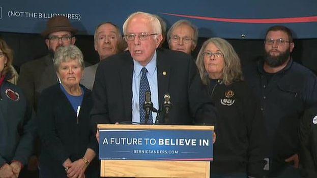 El candidato Bernie Sanders este jueves en New Hampshire. (@BernieSanders)