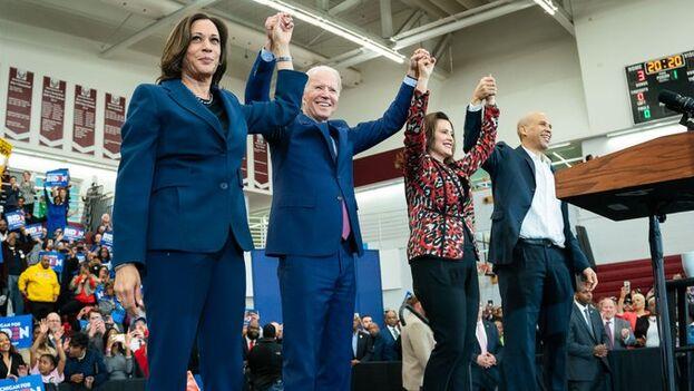 Biden celebra su éxito de este martes y podría ser ya candidato en caso de que Sanders retire su candidatura. (JoeBiden)