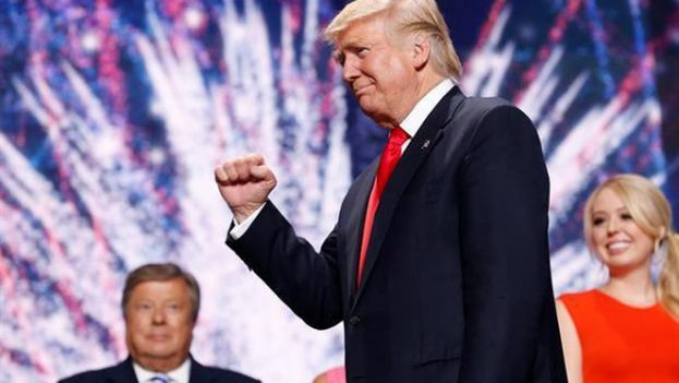 El aspirante republicano a la Casa Blanca, Donald Trump, promedió 34,9 millones de televidentes con su discurso de aceptación en la Convención Republicana. (EFE)