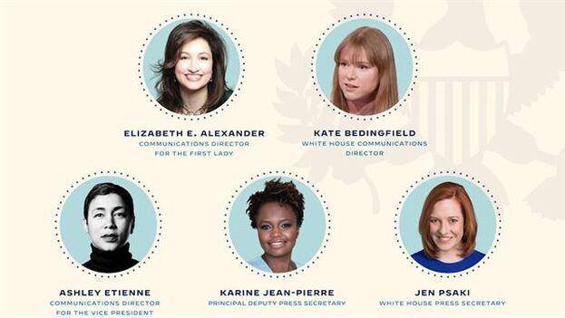 Algunas de las siete mujeres que formarán el equipo de comunicación de la Casa Blanca. (EFE/Equipo de Transición Presidencial Biden-Harris)