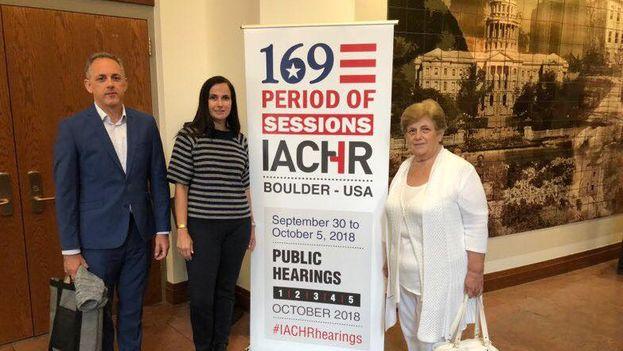 Blanca Reyes intervino en la audiencia Informes sobre la criminalización contra activistas sociales y periodistas en Cuba. (@voiceofcanf)