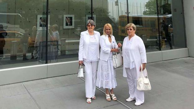 Las representantes de las Damas de Blanco que se encuentran en Nueva York para recibir el Premio Milton Friedman al Avance de la Libertad 2018. (@voiceofcanf)