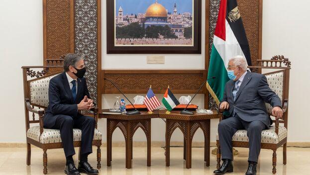 """Blinken se comprometió a """"seguir adelante"""" con la reapertura del consulado para palestinos en Jerusalén, aunque no marcó una fecha concreta para ello. (SecBlinken)"""