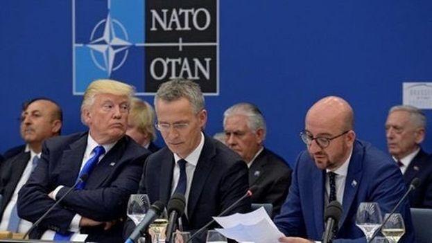 Donald Trump aterrizó este martes en Bruselas para la cumbre de la Organización del Tratado Atlántico Norte. (OTAN)