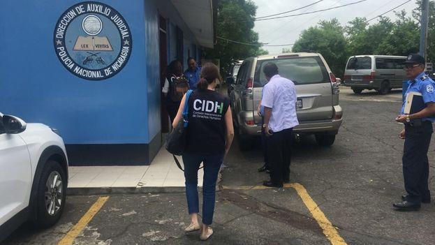 La delegación de la CIDH para Nicaragua visita las instalaciones de El Chipote, en Managua. (CIDH)