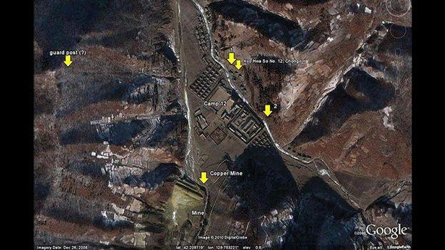 Campos de prisioneros en Corea del Norte según la aplicación satélite Google Earth