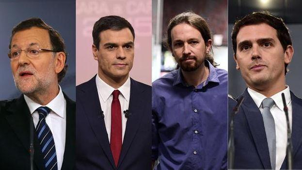Candidatos presidenciales de España: Mariano Rajoy (PP); Pedro Sánchez (PSOE); Pablo Iglesias (Podemos); Andrés Rivera (Ciudadanos).