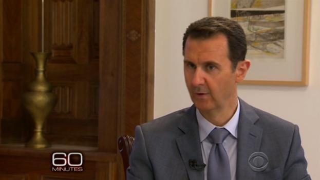 Captura de uno de los fragmentos emitidos por CBS de la entrevista a Bachar al Asad