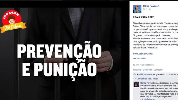 Captura del vídeo publicado en la página de Facebook de Dilma Rousseff sobre la lucha del Gobierno contra la corrupción