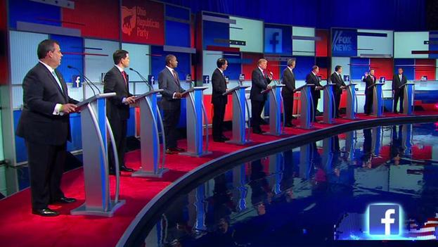 Captura de un momento del debate entre aspirantes a liderar el Partido Republicano en Fox News. (@FoxNews)