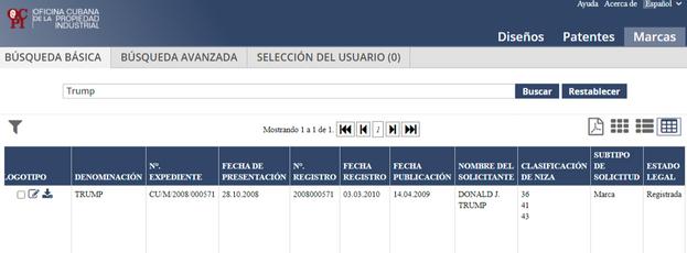 Captura del registro de la Propiedad Industrial donde aparece la empresa del presidente de EE UU.