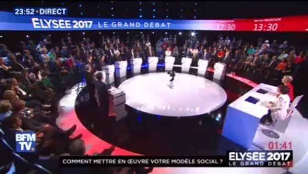 Captura del debate a 11 entre los candidatos a las presidenciales francesas. (Captura)