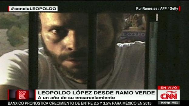 Captura de la emisión de la entrevista a Leopoldo López en 'CNN'