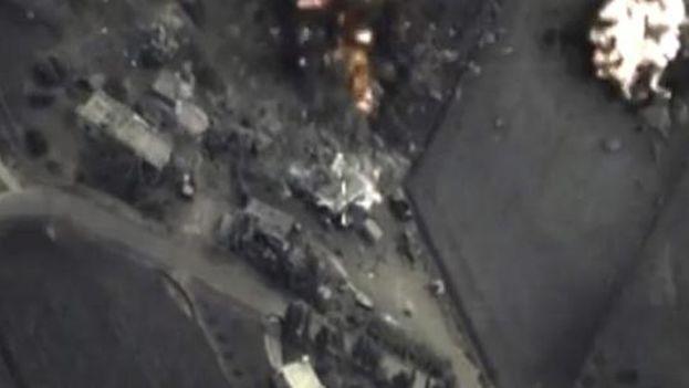 Captura de vídeo tomado desde los aviones rusos durante un bombardeo en Siria