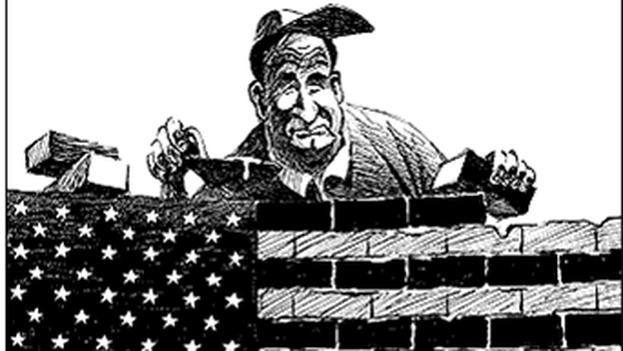 Caricatura de EE UU después de la Primera Guerra Mundial, años de aislamiento estadounidense. (BkimHistory)