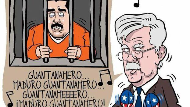 Caricatura de Maduro tras las rejas de Guantánamo en el despacho de Bolton. (Fernando Pinilla)