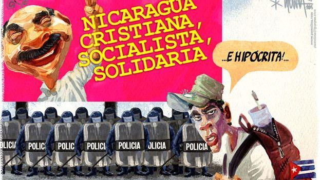 Caricatura sobre la posición de Nicaragua en la crisis de los cubanos migrantes. (PX Molina/Confidencial de Nicaragua)