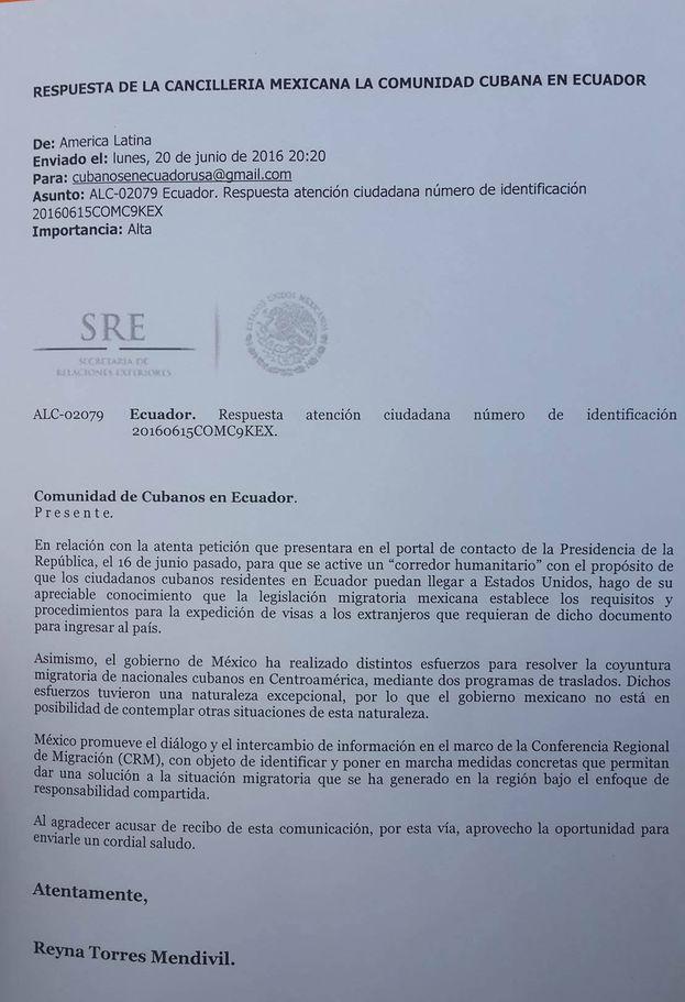 Carta de respuesta de la Cancillería mexicana a los cubanos solicitantes del corredor humanitario. (Cortesía)