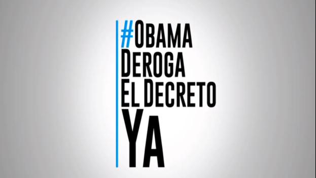 Cartel de campaña contra el decreto de Obama sobre Venezuela. (Alcaldía de Caracas)