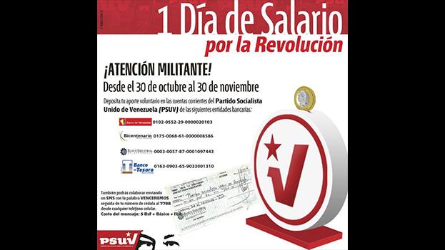 """Cartel de la camapaña """"Un día de salario por la Revolución"""""""