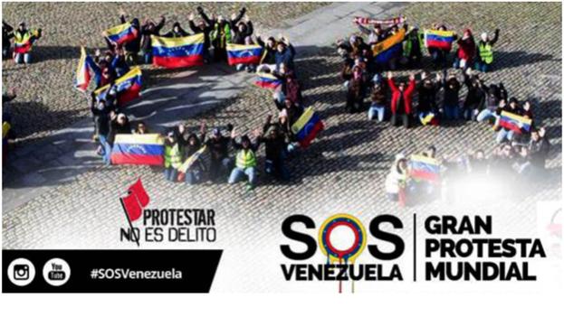 Cartel de las portestas SOS Venezuela en febrero de 2014