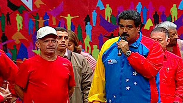Hugo Carvajal junto al presidente de Venezuela, Nicolás Maduro. (Captura de pantalla)
