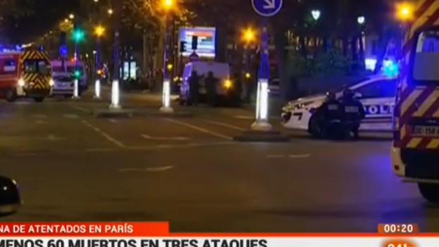 Centenares de muertos y heridos en varios atentados simultáneos la noche de este viernes en París. (TVE/captura de pantalla)