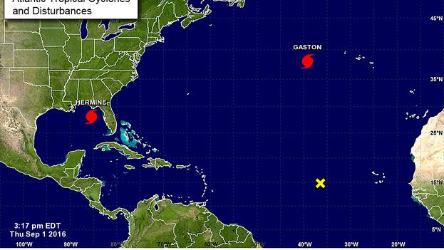 Mapa del Centro Nacional de Huracanes de Estados Unidos sobre el comportamiento climático en el Atlántico. (web)