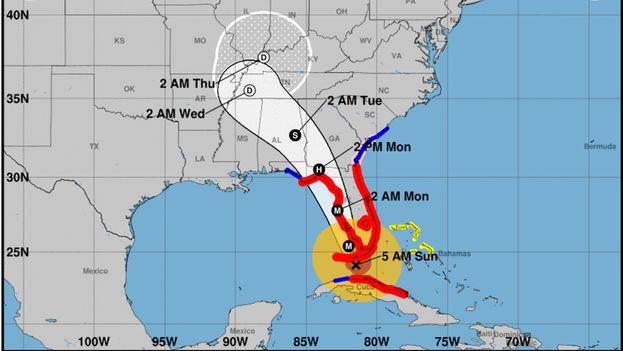 La actual trayectoria del huracán Irma según el Centro Nacional de Huracanes de Estados Unidos. (NHC)