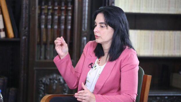 La ministra de Ciencia venezolana, Gabriela Jiménez, durante la entrevista en el canal estatal. (@Gabrielasjr)