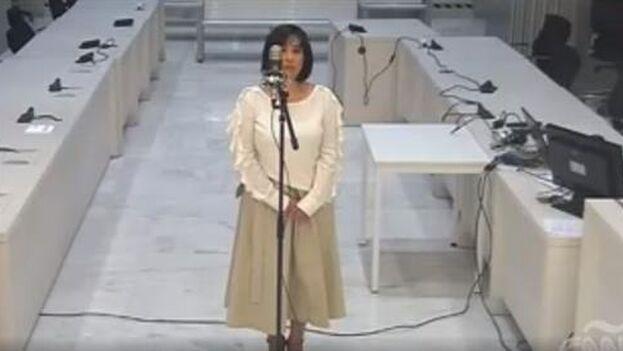 Claudia Patricia Díaz Guillén en una declaración ante la Audiencia Nacional española en 2018. (Youtube)