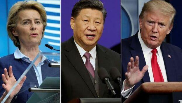 La presidenta de la Comisión Europea, Ursula Von Der Leyen: el presidente de China, Xi Jinping, y el presidente de Estados Unidos, Donald Trump. (EFE)