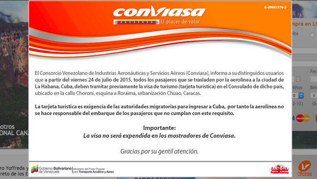 Comunicado en la página de inicio de Conviasa con la normativa de viajeros a Cuba que entra este viernes en vigor