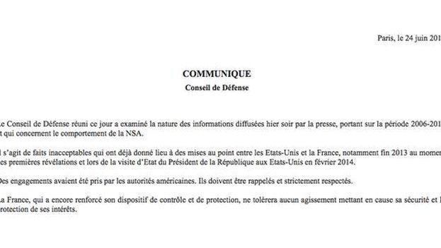 Comunicado del Elíseo en relación a las informaciones que sostienen que tres presidentes franceses fueron espiados por EE UU. (@Elysee)