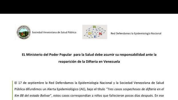 Comunicado al Gobierno de Venezuela para solicitar que se asuma la responsabilidad por el regreso de la enfermedad. (@ovsalud)
