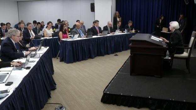 Conferencia de prensa de la directora de la Reserva Federal de los EE UU, Janet Yellen. (FRB)