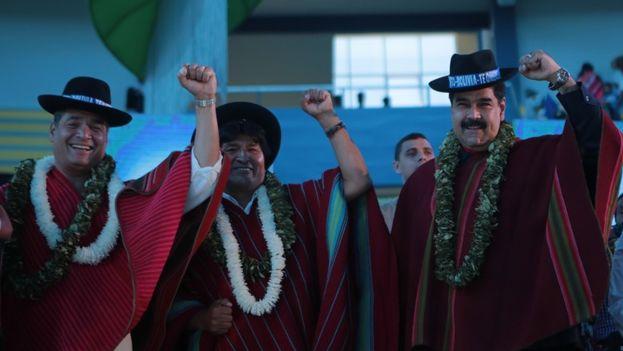 Maduro, Correa y Morales este lunes en la Conferencia Mundial de los Pueblos sobre Cambio Climático. (Prensa Presidencial)