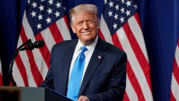 El presidente Donald Trump, durante la primera jornada de la Convención Republicana en Charlotte, Carolina del Norte, este lunes. (EFE/EPA/Chris Carlson)