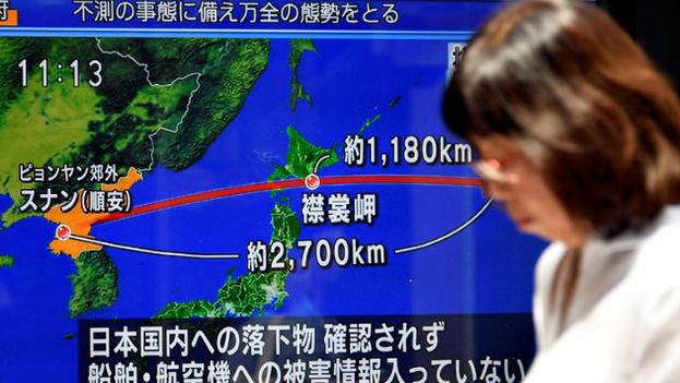 El proyectil lanzado por Corea del Norte cayó a unos 1.180 kilómetros del cabo de Erimo, en el extremo nororiental del archipiélago japonés. (Televisión Corea del Sur)